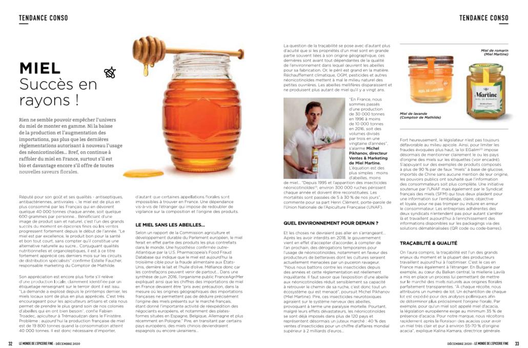 Consommation et tendance du miel en France.